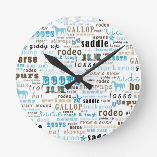 Western Word Art Teal Brown Wall Clock