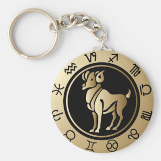 Western Zodiac - Aries Basic Round Button Keychain
