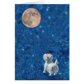Westie and Full Moon Card