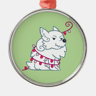 Westie and Lights Metal Ornament