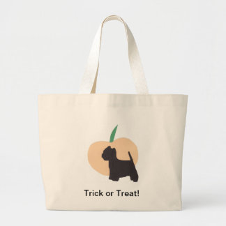 Westie and Pumpkin Large Tote Bag