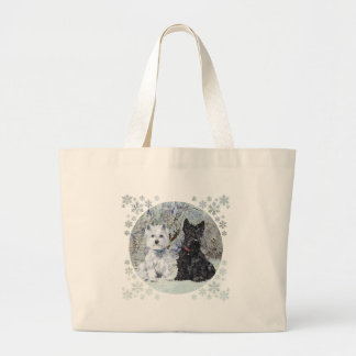 Westie and Scottie in Snowy Landscape Large Tote Bag