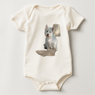 WESTIE AT THE GATE BABY BODYSUIT