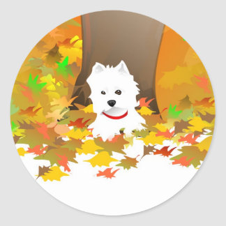 Westie - Autumn Leaves - Sticker