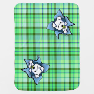 Westie Baby Puppy Green Plaid Blanket Swaddle Blanket