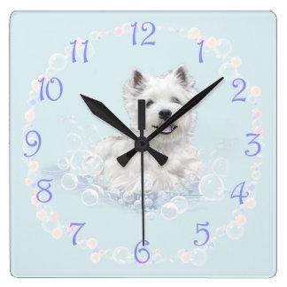 Westie Bath Time Fun Square Wall Clock