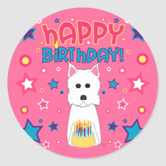 Westie Birthday Classic Round Sticker
