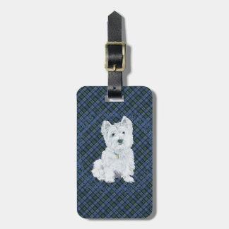 Westie Black Watch Tartan Luggage Tag