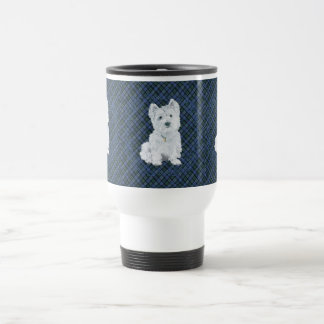Westie Black Watch Tartan Travel Mug
