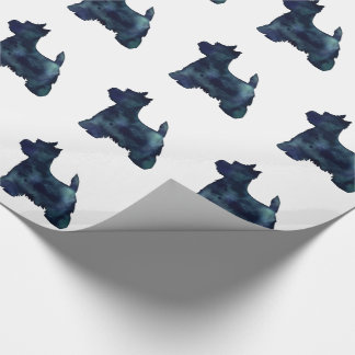 Westie Black Waterolor Silhouette Dog Wrapping Paper