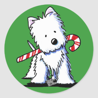 Westie Candy Cane Cutie Stickers