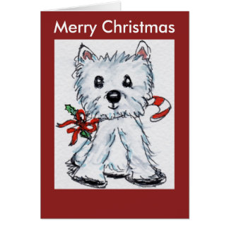 Westie Candy stick watercolour Christmas Card cute