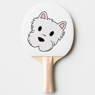 westie cartoon head ping pong paddle