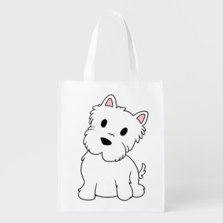 westie cartoon reusable grocery bag