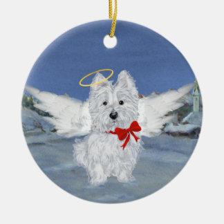 Westie Christmas Angel Ceramic Ornament