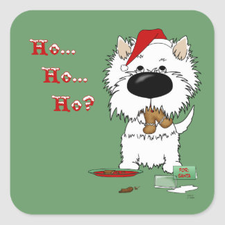 Westie Christmas - Ho Ho Ho??? Square Sticker