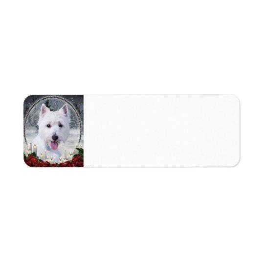 Westie Christmas Return Address Labels
