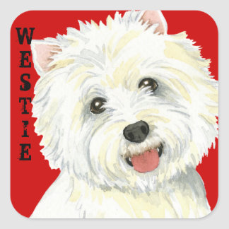 Westie Color Block Square Sticker