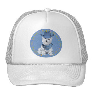 Westie Cowboy on Denim Trucker Hat