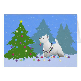 Westie Decorating a Christmas Tree in the Forest Card