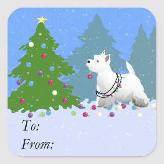 Westie Decorating a Christmas Tree in the Forest Square Sticker