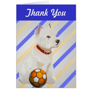 Westie Dog and Ball Art Gifts Card