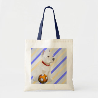 Westie Dog and Ball Art Gifts Tote Bag