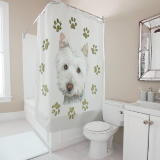 Westie Dog Art and Paws Shower Curtain