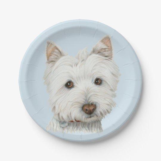Westie Dog Art Paper Plate