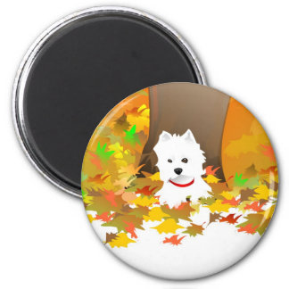 Westie Dog - Autumn Leaves - Magnet
