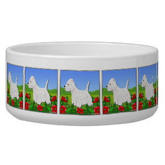Westie Dog Bowl with West Highland White Terriers