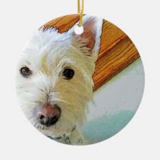 Westie Dog Face, Looking at You Round Ceramic Ornament