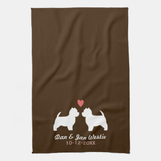 Westie Dog Silhouettes with Heart and Text Kitchen Towel
