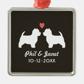 Westie Dog Silhouettes with Heart and Text Silver-Colored Square Ornament