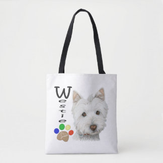 Westie Dogs Art all over print tote bag