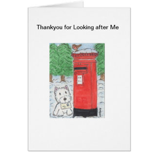 Westie Dogsitting Thankyou for Looking After Me Card