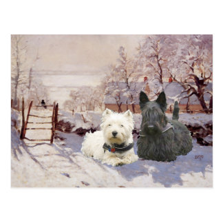 Westie et pie d'hiver de Scottie Cartes Postales