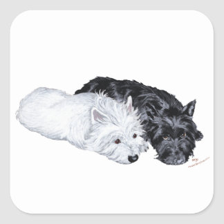 Westie et Scottie à l'aise Sticker Carré