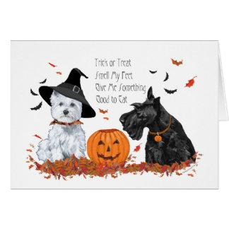 Westie et Scottie Halloween Carte De Vœux