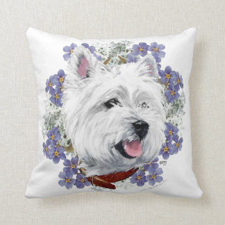 Westie Forget Me Not Throw Pillow