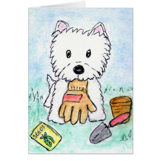 Westie gardening card birthday etc.