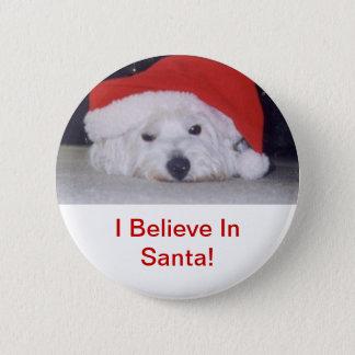 Westie in a Santa Hat 2 Inch Round Button