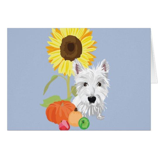 Westie in autumn card