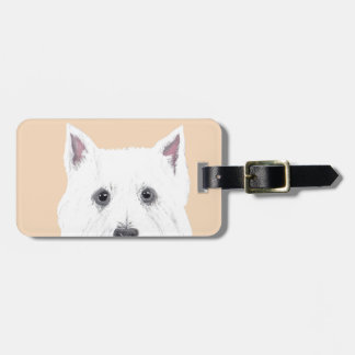 Westie in pink luggage tag
