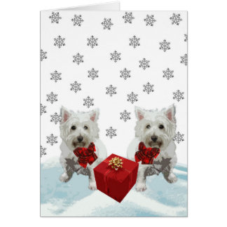 Westie In Snow Christmas White Dogs Card
