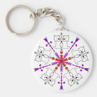 Westie kaleidoscope basic round button keychain