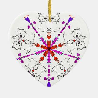 Westie kaleidoscope ceramic heart ornament