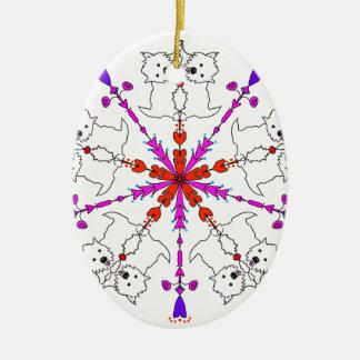 Westie kaleidoscope ceramic oval ornament