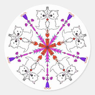 Westie kaleidoscope classic round sticker