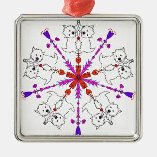 Westie kaleidoscope metal ornament